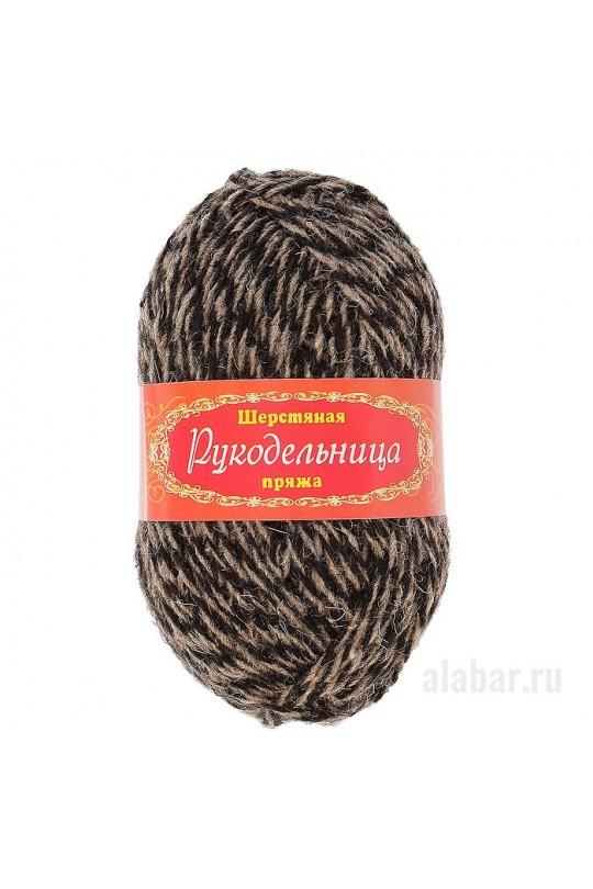 Пряжа «Рукодельница» Чёрно-коричневый меланж|ПР-0003